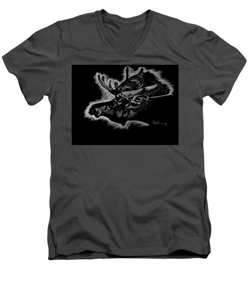 Moose Men's V-Neck T-Shirt by Lawrence Tripoli