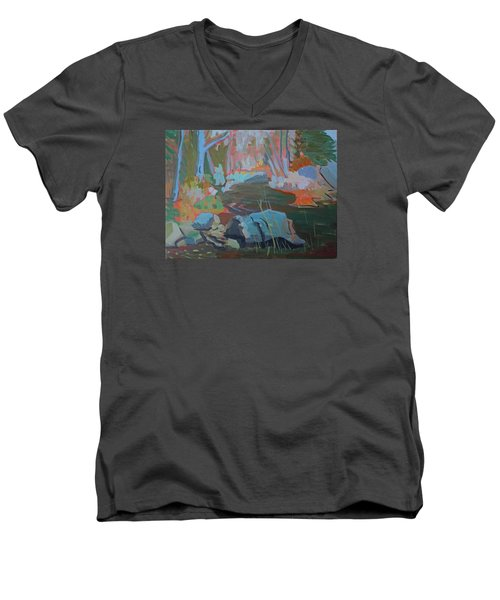 Men's V-Neck T-Shirt featuring the painting Moose Lips Brook by Francine Frank