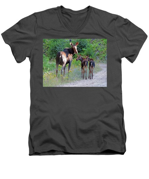 Moose Mom And Babies Men's V-Neck T-Shirt by Cindy Murphy - NightVisions