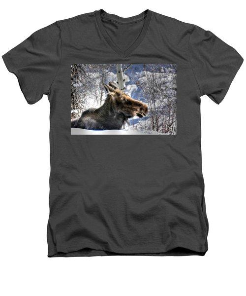 Moose On The Loose Men's V-Neck T-Shirt