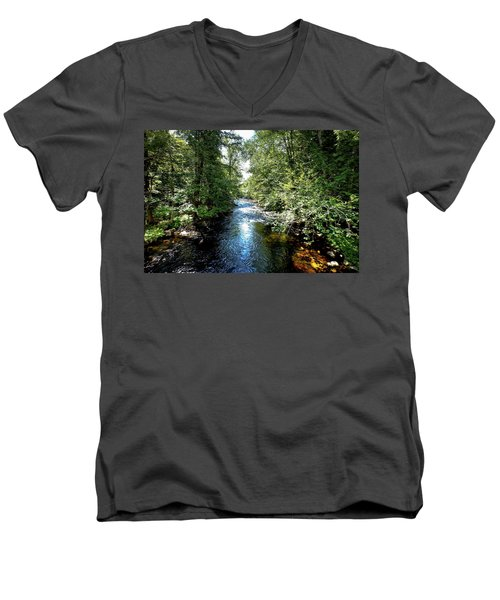 Men's V-Neck T-Shirt featuring the photograph Moose River At Covewood by David Patterson