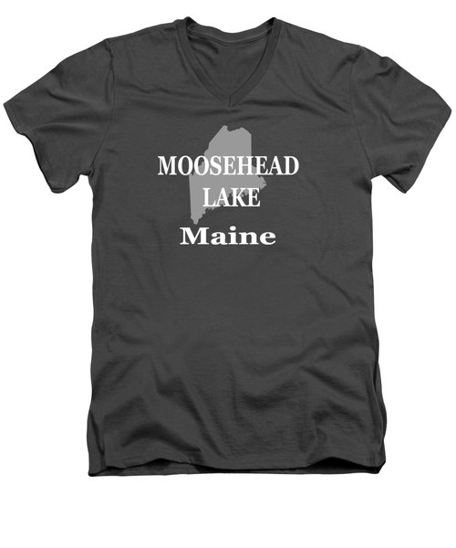 Men's V-Neck T-Shirt featuring the photograph Moosehead Lake Maine State Pride  by Keith Webber Jr