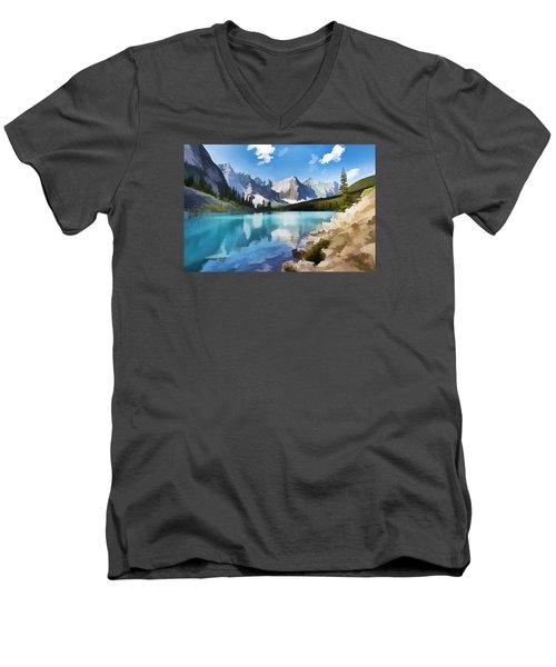 Moraine Lake At Banff National Park Men's V-Neck T-Shirt by Lanjee Chee