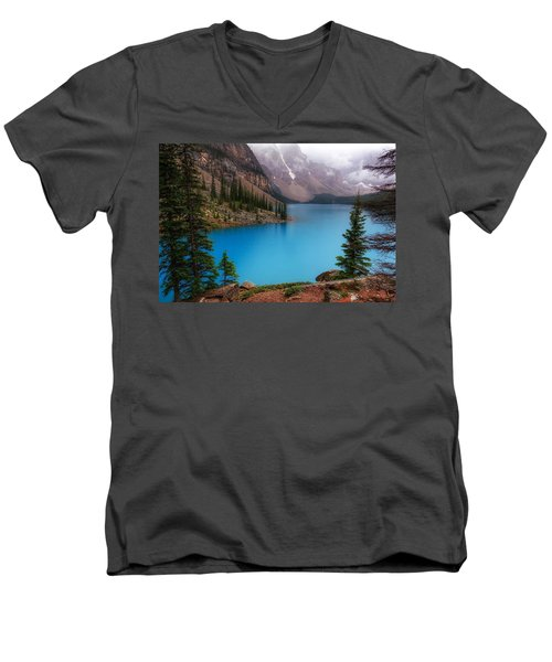 Moraine Lake Men's V-Neck T-Shirt by Heather Vopni