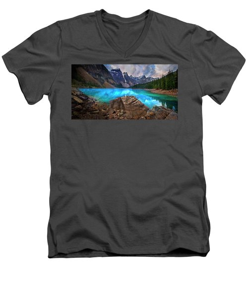 Men's V-Neck T-Shirt featuring the photograph Moraine Lake by John Poon