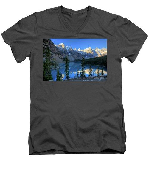 Moraine Lake Sunrise Blue Skies Men's V-Neck T-Shirt