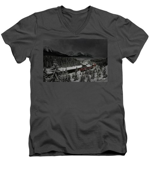 Morant's Curve - Winter Night Men's V-Neck T-Shirt by Brad Allen Fine Art