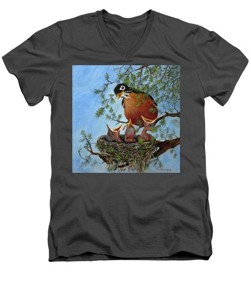 Men's V-Neck T-Shirt featuring the painting More Food by Roseann Gilmore