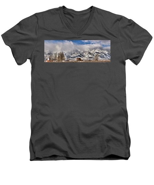 Men's V-Neck T-Shirt featuring the photograph Mormon Row Early Winter Panorama by Adam Jewell