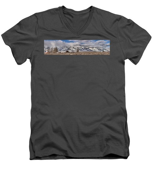 Men's V-Neck T-Shirt featuring the photograph Mormon Row Extended Panorama by Adam Jewell