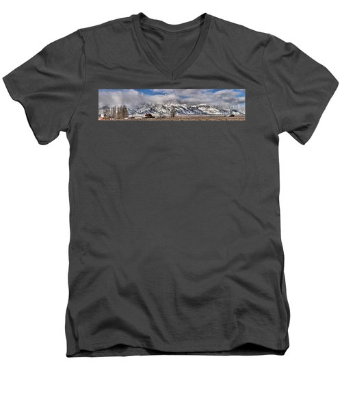 Men's V-Neck T-Shirt featuring the photograph Mormon Row Snowy Extended Panorama by Adam Jewell