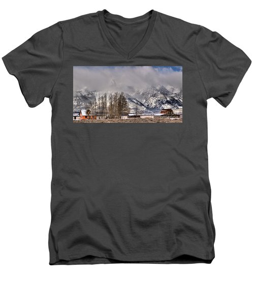 Men's V-Neck T-Shirt featuring the photograph Mormon Row Winter Morning Panorama by Adam Jewell