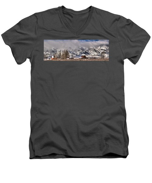 Men's V-Neck T-Shirt featuring the photograph Mormon Row Winter Panorama by Adam Jewell