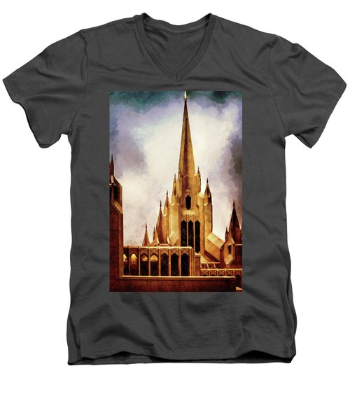 Mormon Temple Steeple Men's V-Neck T-Shirt by Joseph Hollingsworth