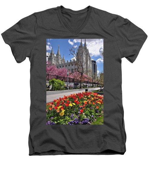 Mormon Temple Men's V-Neck T-Shirt by Utah Images