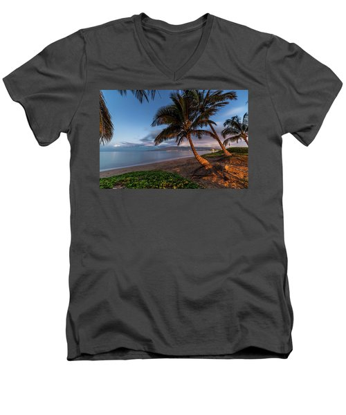 Men's V-Neck T-Shirt featuring the photograph Morning Aloha by Pierre Leclerc Photography