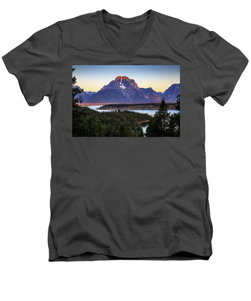 Men's V-Neck T-Shirt featuring the photograph Morning At Mt. Moran by David Chandler