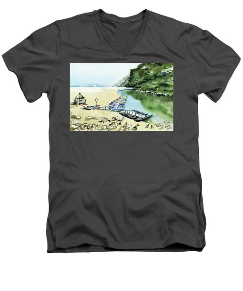 Men's V-Neck T-Shirt featuring the painting Morning At Porto Novo Beach by Dora Hathazi Mendes