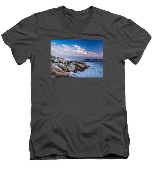 Morning At The Beach Men's V-Neck T-Shirt by Tim Kirchoff