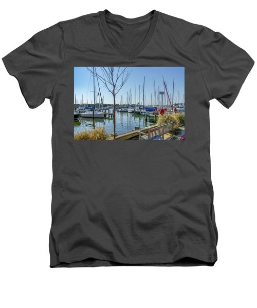 Men's V-Neck T-Shirt featuring the photograph Morning At The Marina by Charles Kraus