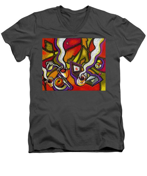 Men's V-Neck T-Shirt featuring the painting Morning Coffee And Internet by Leon Zernitsky