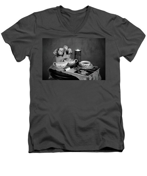 Morning Coffee And Reading Magazine Time Men's V-Neck T-Shirt by Sherry Hallemeier
