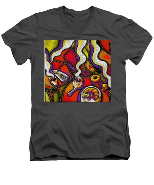 Men's V-Neck T-Shirt featuring the painting Morning Coffee Cup And Muffin  by Leon Zernitsky