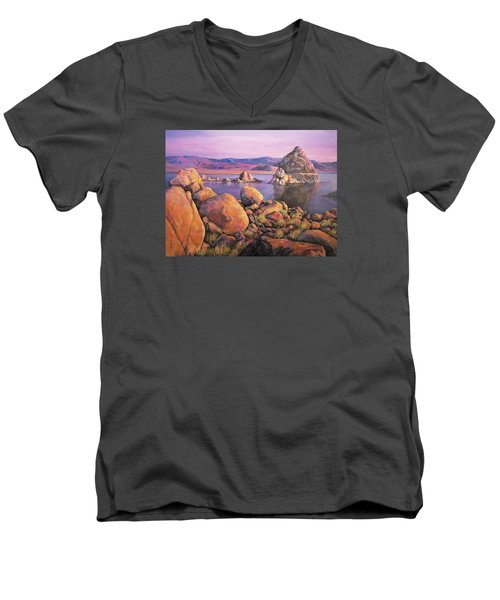 Morning Colors At Lake Pyramid Men's V-Neck T-Shirt by Donna Tucker