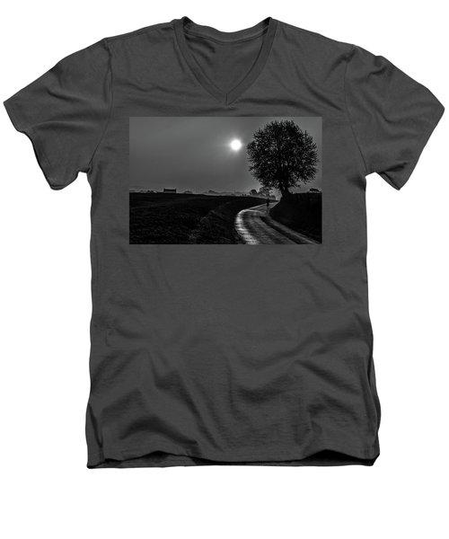 Morning Dew Bw Men's V-Neck T-Shirt by Rainer Kersten