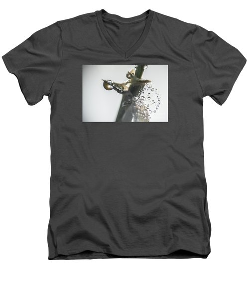 Men's V-Neck T-Shirt featuring the photograph Morning Dew On A Web by Odon Czintos