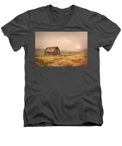 Men's V-Neck T-Shirt featuring the photograph Morning Flight by John Poon