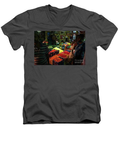 Men's V-Neck T-Shirt featuring the photograph Morning Flower Market Colors by Mike Reid
