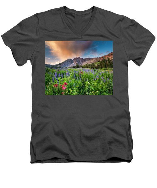 Morning Flowers In Little Cottonwood Canyon, Utah Men's V-Neck T-Shirt