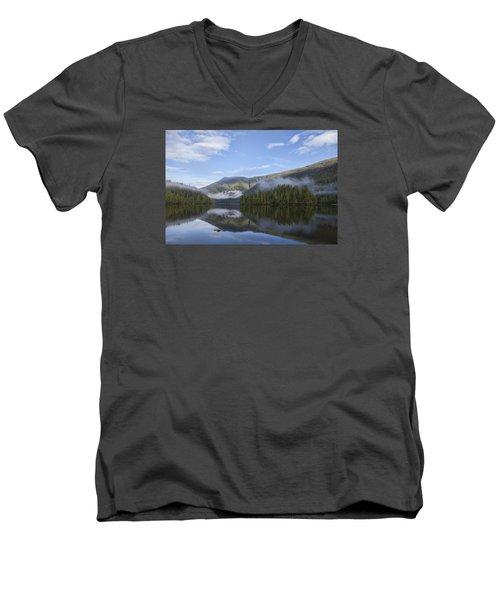 Morning Fog Clearing Men's V-Neck T-Shirt by Michele Cornelius