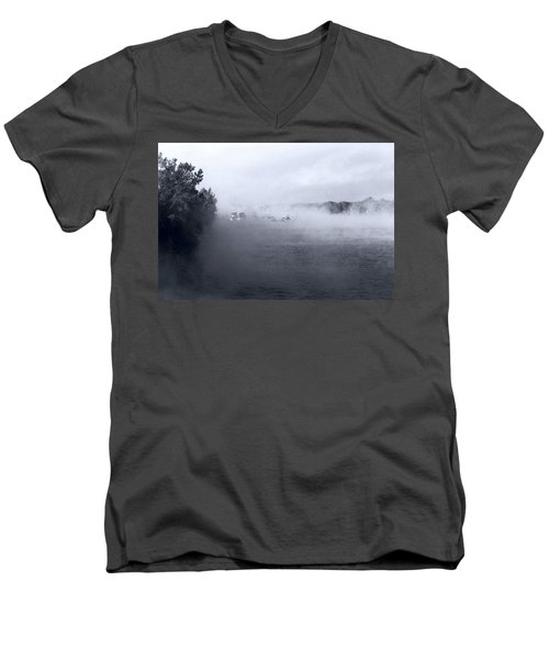 Men's V-Neck T-Shirt featuring the photograph Morning Fog - Hudson River by John Schneider