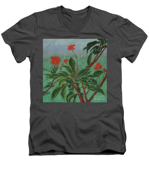 Morning Fog In The Garden Men's V-Neck T-Shirt