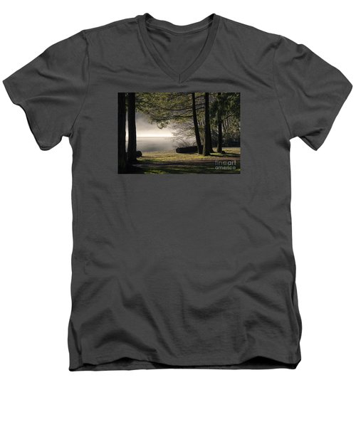 Men's V-Neck T-Shirt featuring the photograph Morning Fog by Inge Riis McDonald