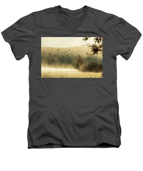 Morning Fog On Haley Pond In Rangeley Maine Men's V-Neck T-Shirt