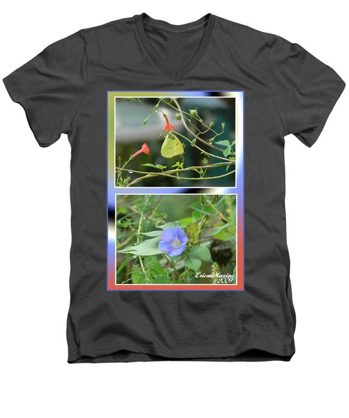 Men's V-Neck T-Shirt featuring the photograph Morning Glories And Butterfly by EricaMaxine  Price