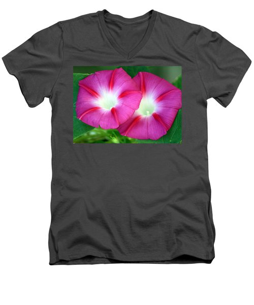 Men's V-Neck T-Shirt featuring the photograph Morning Glories by Sheila Brown
