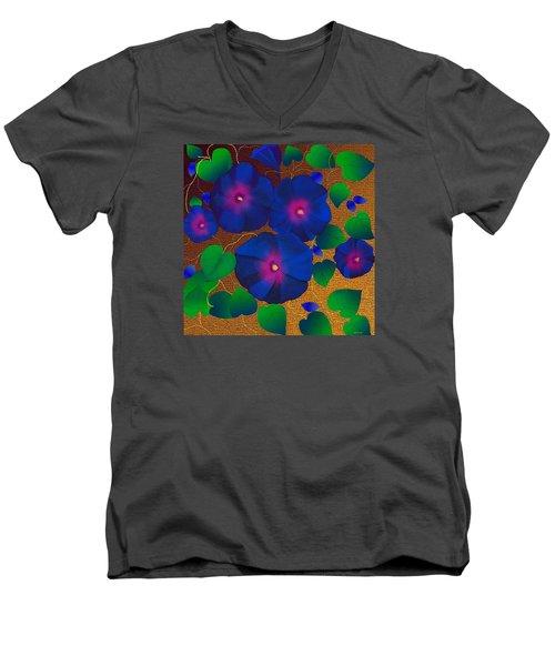 Morning Glory Men's V-Neck T-Shirt by Latha Gokuldas Panicker
