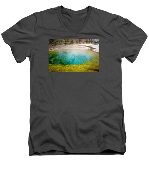 Morning Glory Pool Yellowstone National Park Men's V-Neck T-Shirt