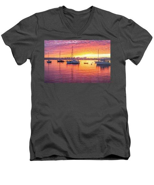 Morning Glow Men's V-Neck T-Shirt by Joseph S Giacalone