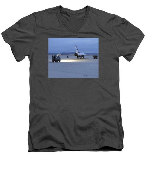 Men's V-Neck T-Shirt featuring the digital art Morning Go by Walter Chamberlain