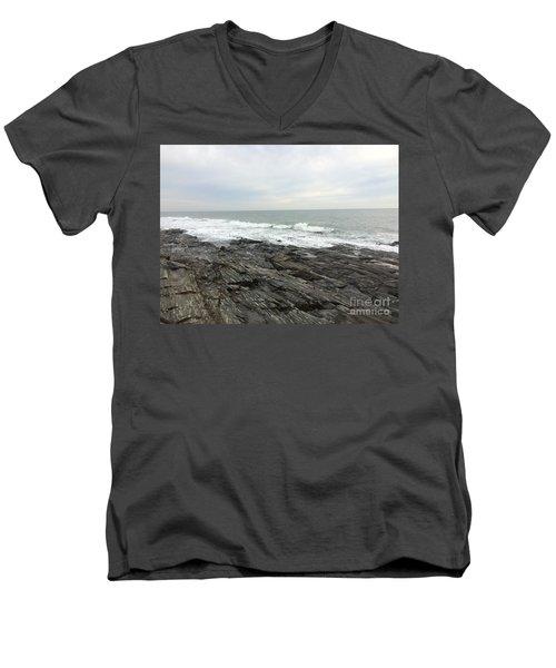 Morning Horizon On The Atlantic Ocean Men's V-Neck T-Shirt by Patricia E Sundik