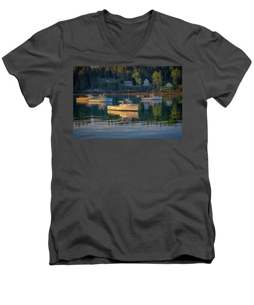 Men's V-Neck T-Shirt featuring the photograph Morning In Tenants Harbor by Rick Berk