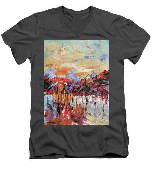 Morning In The Garden Men's V-Neck T-Shirt by Kovacs Anna Brigitta