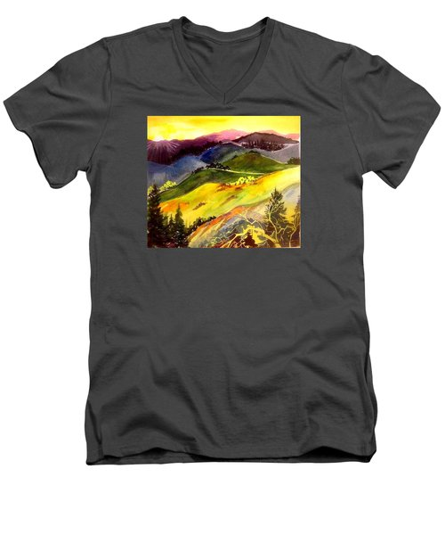 Morning In The Hills Men's V-Neck T-Shirt