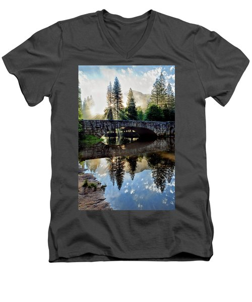 Morning Light Along The Merced River Men's V-Neck T-Shirt