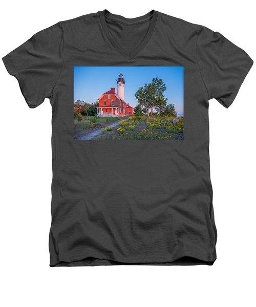 Morning Light At Au Sable Point Men's V-Neck T-Shirt